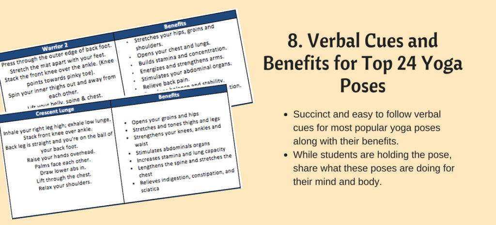 Yoga verbal cues and benefits